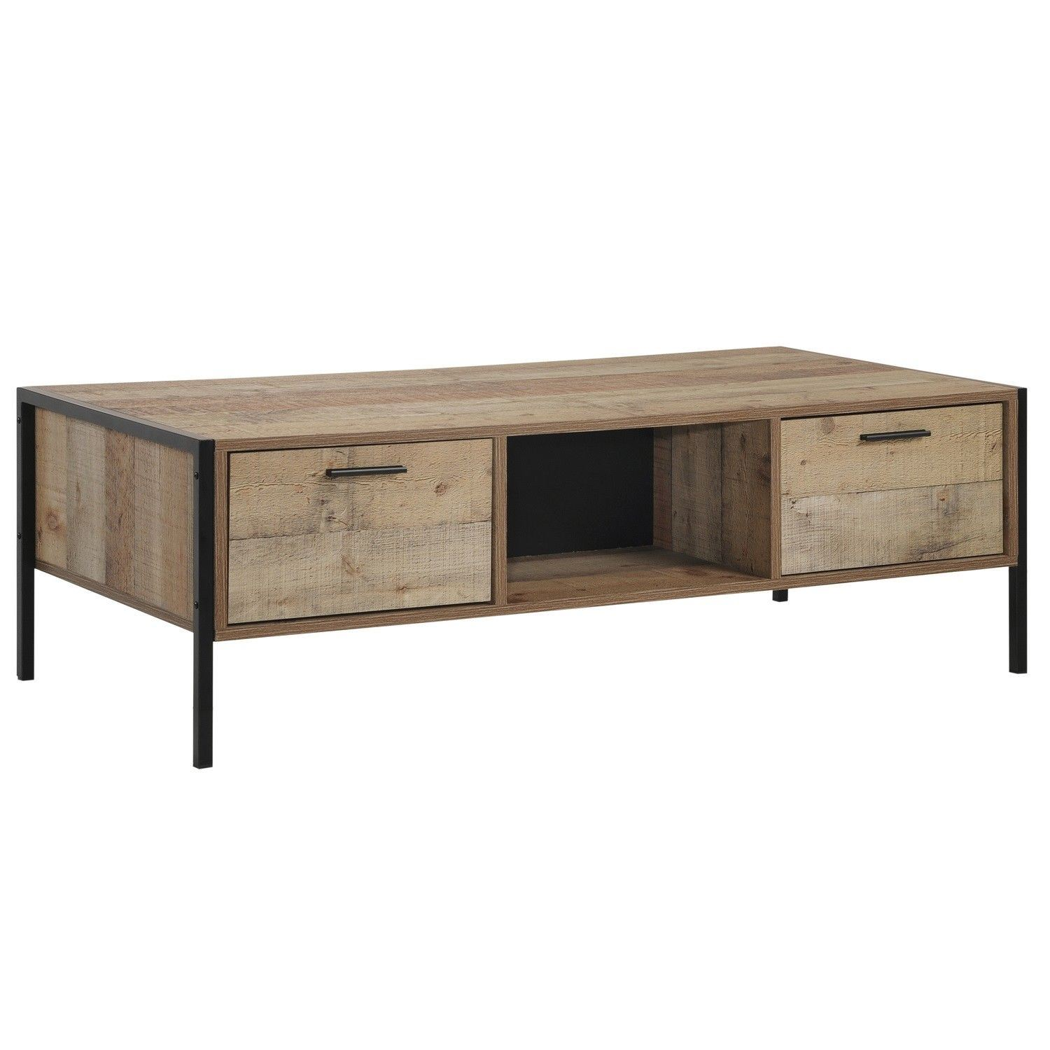 Stretton Coffee Table With 4 Drawers Rustic Oak Effect